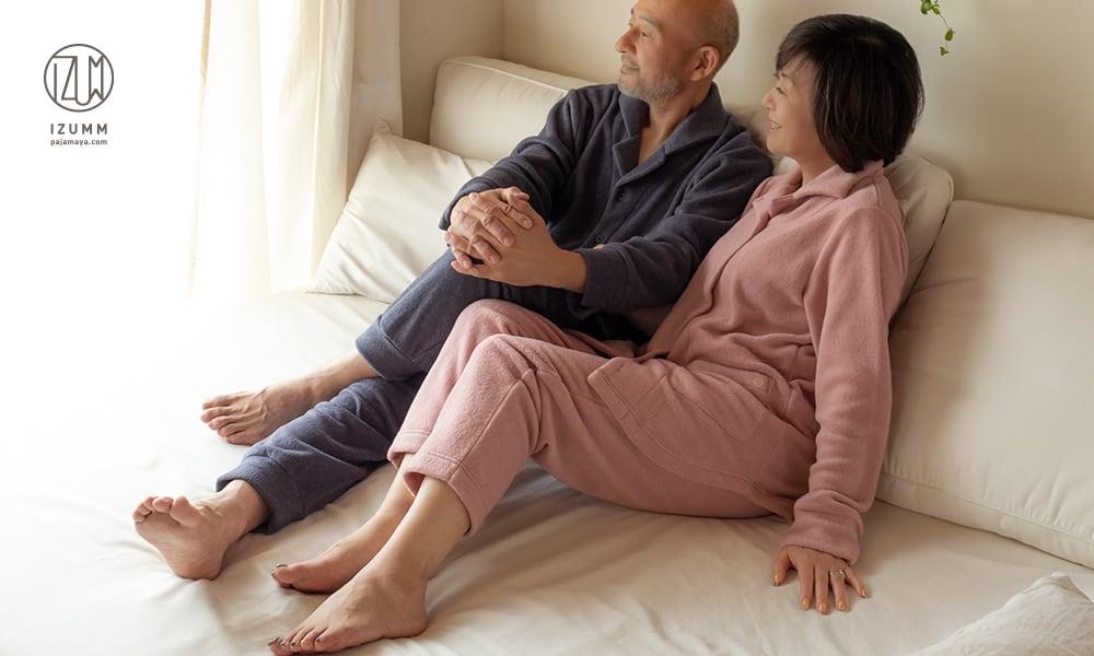 メンズ・レディース前開きパジャマ あたたかい二人